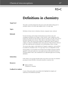 Definitions in chemistry