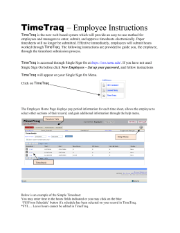 TimeTraq – Employee Instructions