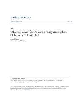 "Obama`s ""Czars"" for Domestic Policy and the Law of the White"