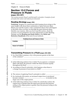 Section 13.2 Forces and Pressure in Fluids