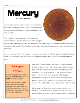Mercury - Super Teacher Worksheets