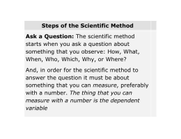 Steps of the Scientific Method - Howard D. McMillan Middle School