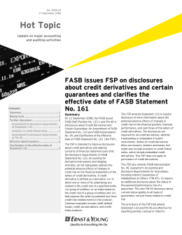 Hot Topic 2008-25: FASB issues FSP on disclosures about