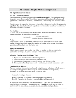 AP Statistics – Chapter 9 Notes