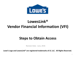 LowesLink® Vendor Financial Information (VFI)