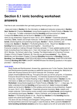 Section 6.1 ionic bonding worksheet answers