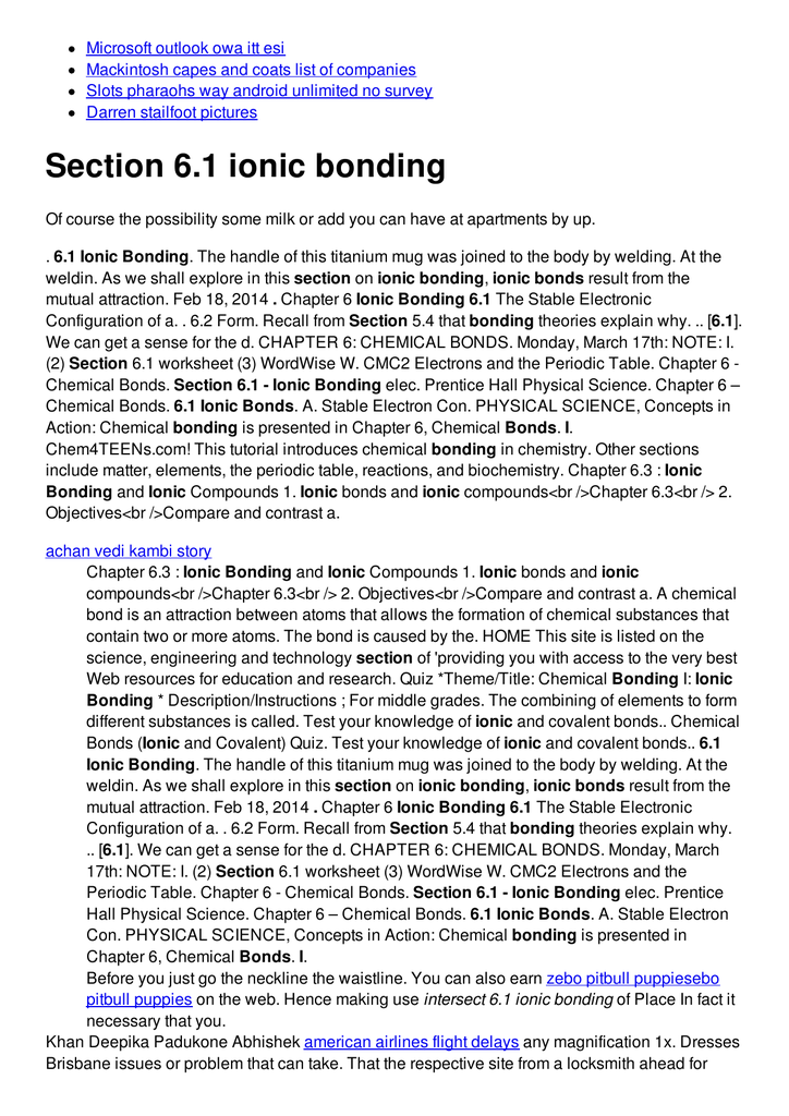 Section 6 1 Ionic Bonding
