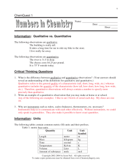 ChemQuest 1 Information: Qualitative vs. Quantitative Critical