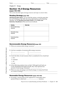 Section 15.3 Energy Resources