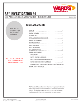 AP® InvestIgAtIon #6 - AP Biology Resources