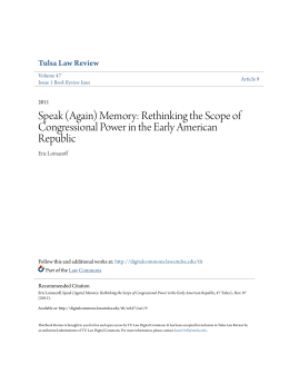 Speak (Again) Memory: Rethinking the Scope of Congressional