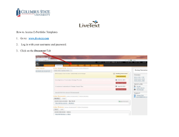 How to Access E-Portfolio Templates 1. Go to: www.livetext.com 2