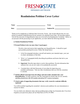 Readmission Petition Cover Letter - California State University, Fresno