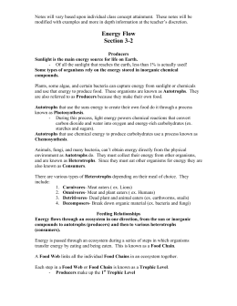 Worksheet - The Science of Ecology ANSWER KEY