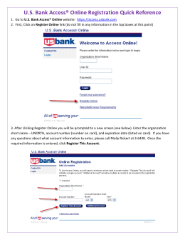 U.S. Bank Access® Online Registration Quick Reference