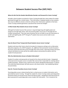 Delaware Student Success Plan (SSP) FAQ`s