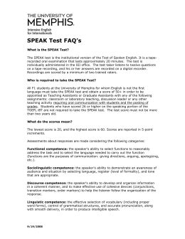SPEAK Test FAQ`s - University of Memphis