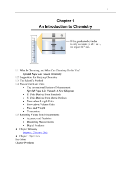 Study Guide Chapter 1 - An Introduction to Chemistry