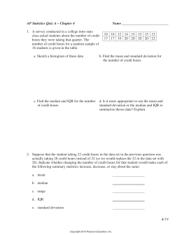 AP Statistics Quiz A – Chapter 4 Name
