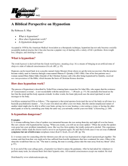 A Biblical Perspective on Hypnotism