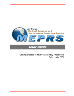 Air Force MEPRS User`s Guide