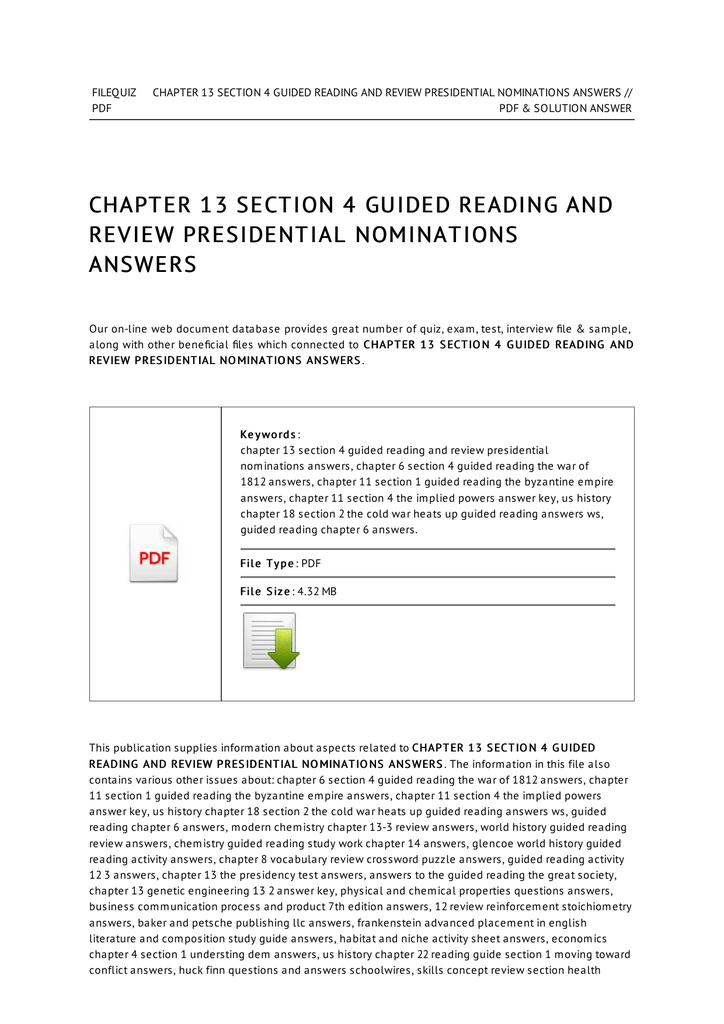 Chapter 13 Section 4 Guided Reading And Review Presidential