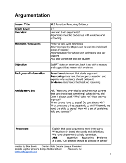 ARE: Assertion Reasoning Evidence Lesson Plan