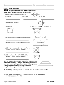 Practice B Properties of Kites and Trapezoids 6-6