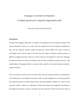 Language in economic development: Is English special