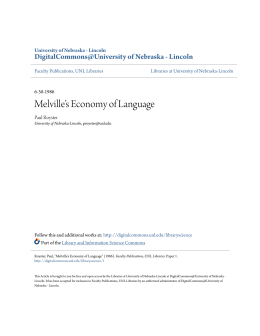 Melville`s Economy of Language - DigitalCommons@University of