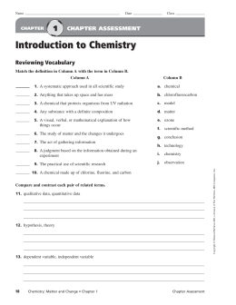 Chemistry: Matter and Change Ch. 1