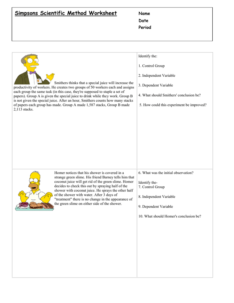 worksheet Simpsons Scientific Method Worksheet simpsons scientific method worksheet