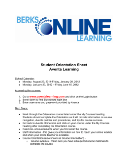 Student Orientation Sheet Aventa Learning