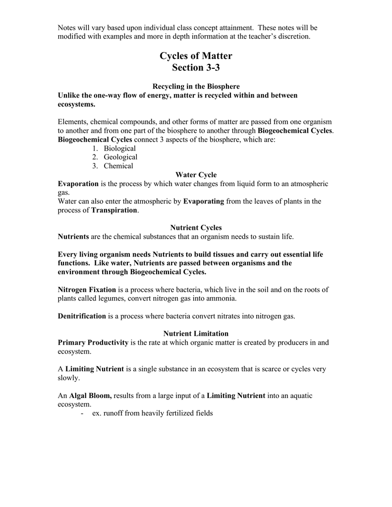 worksheet Cycles Of Matter Worksheet cycles of matter section 3 3
