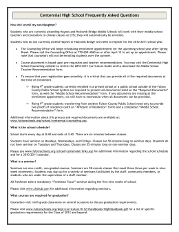 New Student FAQs - Centennial High School Counseling