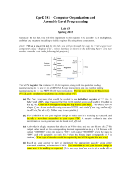 CprE 381 – Computer Organization and Assembly Level Programming