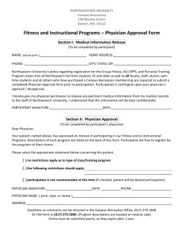 Physician Approval Form - Campus Recreation