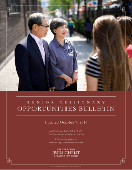 opportunities bulletin - The Church of Jesus Christ of Latter