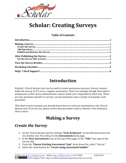 Scholar: Creating Surveys - Online Learning and Collaboration