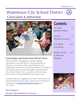 Curriculum and Instruction Parent Newsletter