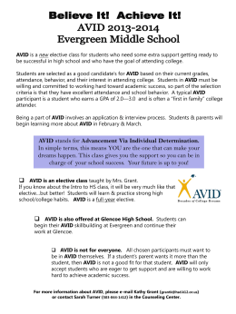 AVID stands for Advancement Via Individual Determination. In