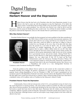 Chapter 7 Herbert Hoover and the Depression