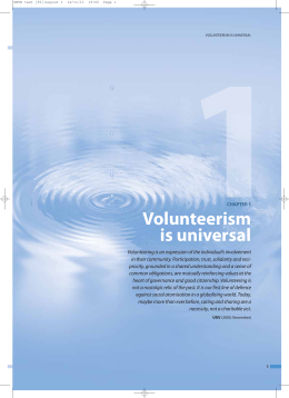 Volunteerism is universal - United Nations Volunteers