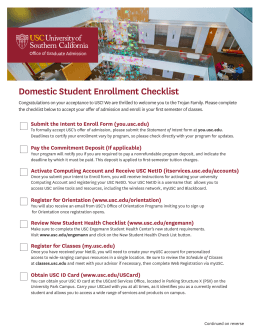 Domestic Student Enrollment Checklist