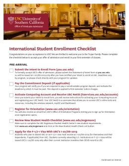 International Student Enrollment Checklist