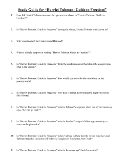 "Study Guide for ""Harriet Tubman: Guide to Freedom"""