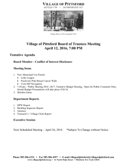 Village of Pittsford Board of Trustees Meeting April 12, 2016, 7:00 PM