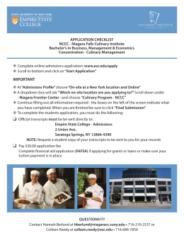 Application Checklist - Niagara Falls Culinary Institute