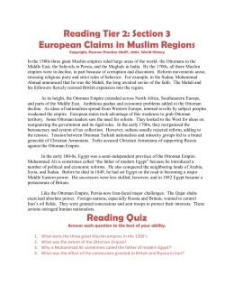Reading Tier 2: Section 3 European Claims in Muslim Regions