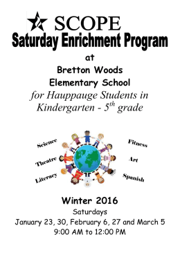 Hauppauge Saturday Enrichment Program Brochure 2016